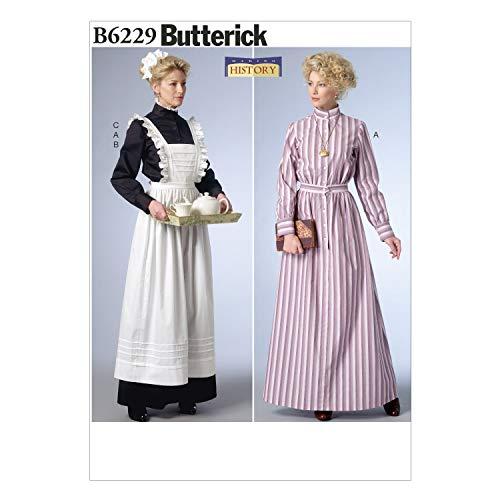 BUTTERICK PATTERNS B6229A50 Long Dress, Apron and Ruffled Headpiece, A5 (6-8-10-12-14)