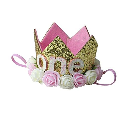 Kirei Sui Baby Pink Cream Rose Gold Sparkle Birthday Crown Headband One