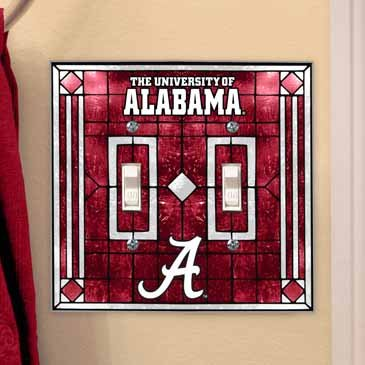 (Memory Company Alabama Crimson Tide Glass Double Switch Plate Cover)