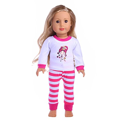 Sunward Cute Strip PJS For American Girl Boy Doll- 18 Inch Doll Clothes (Pink)
