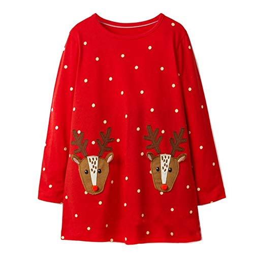 Toddler Kids Girl Dress Long Sleeve Cotton Christmas Deer Elk Santa Clothes -