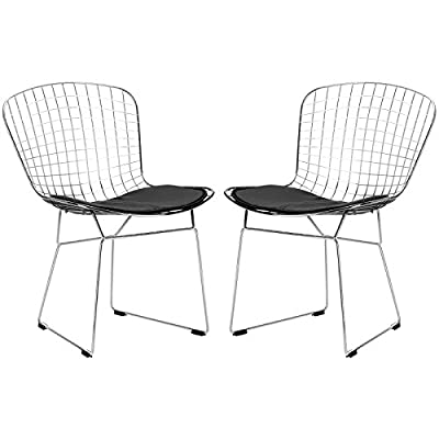 Poly and Bark Morph Side Chair in Black (Set of 2) - Chrome steel frame with welded steel rods Leatherette seat pad, with Velcro strips Plastic non-marking feet - kitchen-dining-room-furniture, kitchen-dining-room, kitchen-dining-room-chairs - 41ieru%2BrQ0L. SS400  -