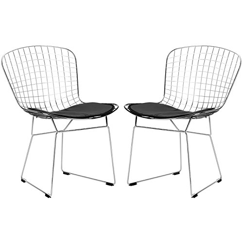 Poly and Bark Bertoia Style Wire Dining Chair, Black, Set of 2