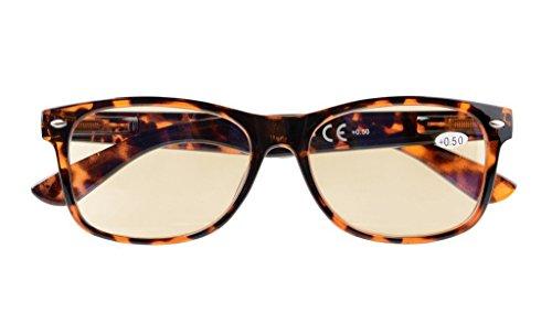 (UV Protection,Anti Blue Rays,Reduce Eyestrain,Computer Reading Glasses Readers(DEMI,Amber Tinted Lenses) +1.0)