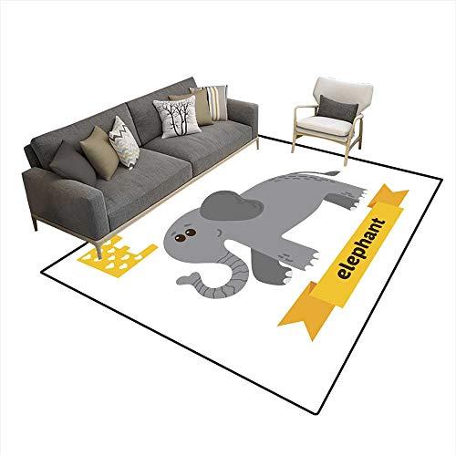 Kids Carpet Playmat Rug Elephant E Letter Cute Children Animal Alphabet in Vector 6'x8' (W180cm x L240cm