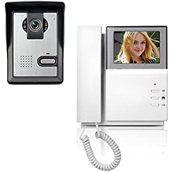 AMOCAM Video Door Phone System 4.3 Inch Clear LCD Monitor Wired Video Intercom Doorbell Kits