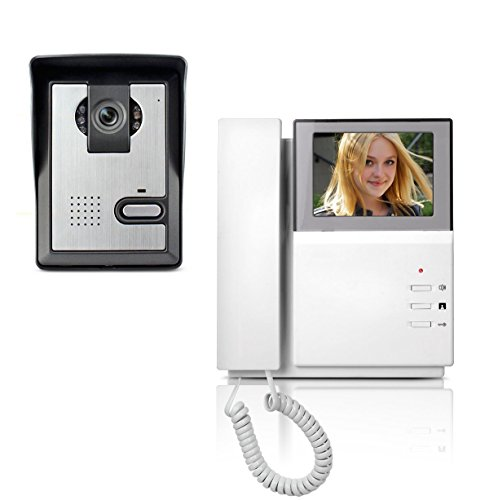 AMOCAM Video Door Phone System, 4.3 Inch Clear LCD Monitor Wired Video Intercom Doorbell Kits, Night Vision Camera Door Bell Intercom, Doorphone Telephone style for Home Improvement (Phone Door)
