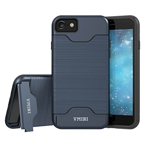 Vmini iPhone 7 Case/iPhone 8 Case, Slim Hard Shockproof Case with Card Slot Holder and Built-In Kickstand, Fashionable Wire Drawing Cover Design - Navy Blue