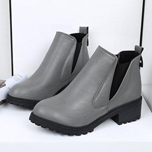 Deesee (tm) Kvinna Vinter Boots Låga Klackar Mode Stövlar Höstvinterkängor Skor Grå