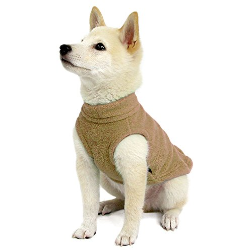 Pullover Harness Polyester - Gooby - Stretch Fleece Vest, Pullover Fleece Vest Jacket Sweater for Dogs, Sand, Medium