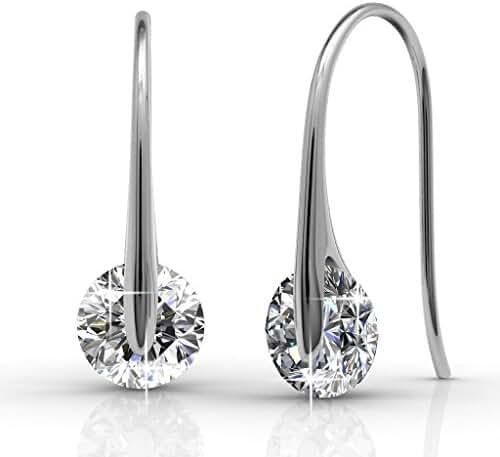 Cate & Chloe McKayla Wonderous 18k White Gold Swarovski Earrings, Drop Dangle-Earrings, Best Silver Earrings for Women, Girls, Special-Occasion Jewelry, Solitaire Drop Earrings with Swarovski Crystals