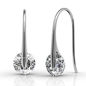Cate & Chloe McKayla 18k White Gold Dangling Earrings with Swarovski Crystal, Classic Drop Dangle-Earrings, Best Silver Earrings for Women, Small Solitaire Hook Drop Earrings with Swarovski -MSRP $126