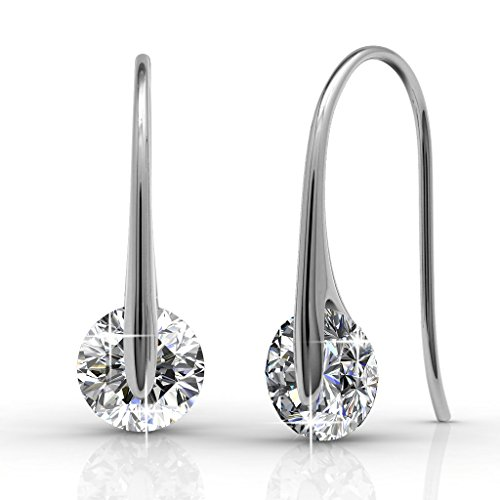 Cate & Chloe McKayla 18k White Gold Plated Dangling Earrings with Swarovski Crystal, Classic Drop Dangle-Earrings, Best Silver Earrings for Women, Small Solitaire Hook Drop Earrings with Swarovski