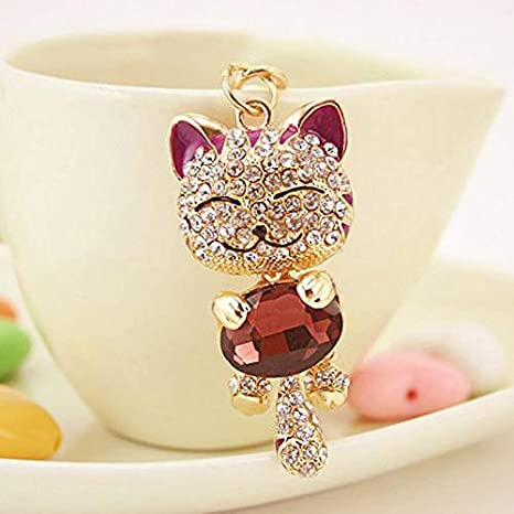 Amazon.com: Lucky Cat Keychain, Cat Key Chain, Smile Cat Crystal Rhinestone Keyrings Key Chains Holder Purse Bag for Car Keychains - Purple: Home & Kitchen