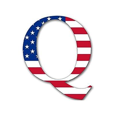 Q Shaped Bright American Flag Sticker (qanon anon USA Trump us): Kitchen & Dining