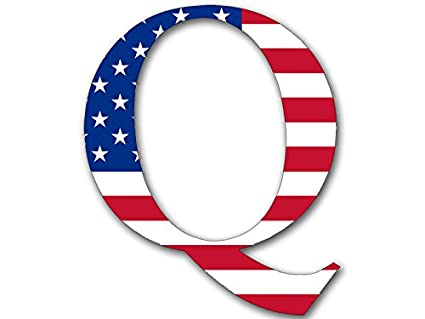 Q shaped bright american flag sticker qanon anon conservative trump us