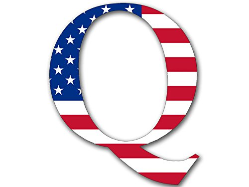 Q Shaped Bright American Flag Sticker (qanon Anon USA Trump Us)