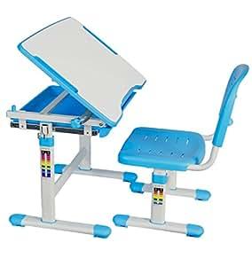 Escritorio y silla para niños con altura ajustable, estación de trabajo interactiva azul con libro electrónico