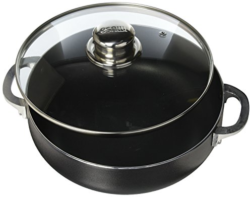Exterior Cast Aluminum Dutch Oven - IMUSA USA CHI-00084 Nonstick Charcoal Caldero (Dutch Oven) with Glass Lid