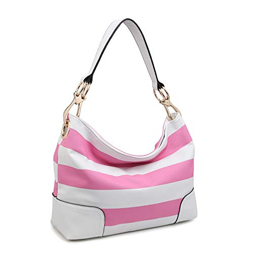 Dasein Women's Classic Faux Leather Hobo Purse Shoulder Bag Tote Handbag (7676- Pink/White)
