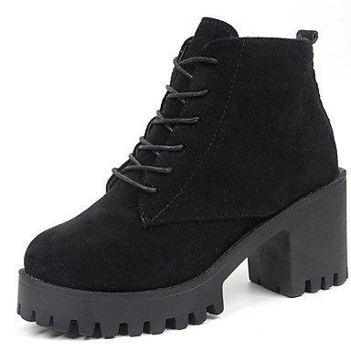 Zapatos Redonda Ejército Lace Puntera Negro RTRY 5 For US7 Up Botas Gamuza Talón Pu Verde De Botas EU38 Moda Invierno CN38 Chunky Mujer 5 Confort Casual UK5 dpwqUO