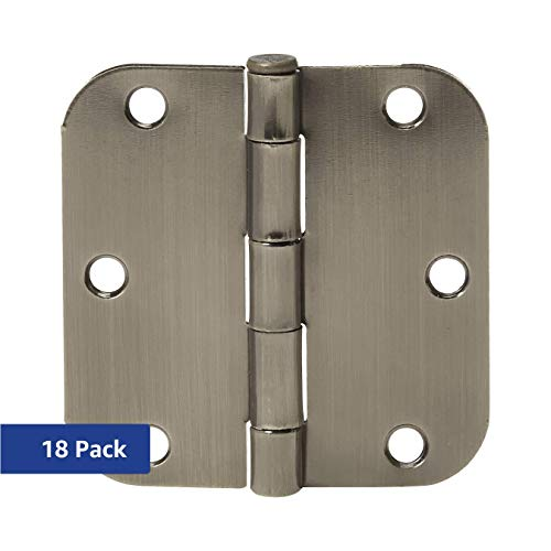 - AmazonBasics Rounded 3.5 Inch x 3.5 Inch Door Hinges, 18 Pack, Satin Nickel