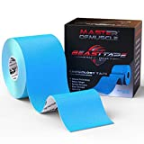 Kinesiology Tape - Ebook for Latest Strapping, Taping Applications - Therapeutic Sports Tape - Knee Shoulder Elbow Ankle Neck, Superior Waterproof & Adhesion - Latex Free FDA & CE Approved (Blue)