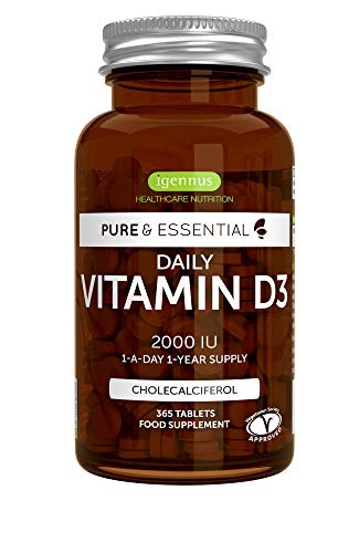 Pure & Essential Daily Vitamin D3 2000iu, 1-Year Supply, Vegetarian, 365 Small Tablets