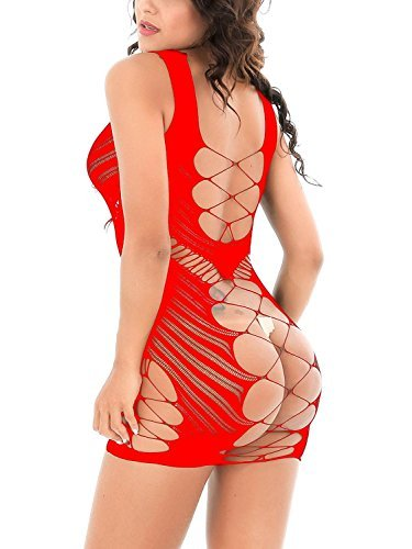 (like & love it Womens Sexy Lingerie Babydoll Hot Fishnet Chemise Mesh Mini Dress (Red))