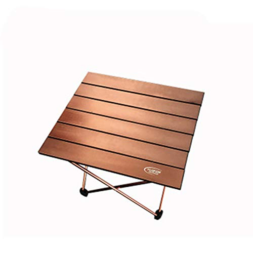 FZQ Outdoor Folding Table Aluminum Alloy Surface Drawing Oxidation High Temperature Scratch Resistance Installation and Storage Easy and Convenient Camping Camping,Brown,S