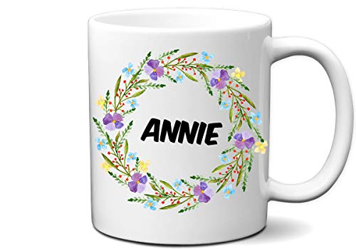Wildflower Custom Name and Message White 11 Ounce White Mug | Personalize and Customize with Any Name or Message | Great Custom Mug Gift