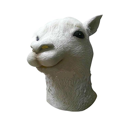 Alpaca Mask Aolvo Latex Animal Head Mask Novelty Face Mask White For Cosplay Costume Party Halloween