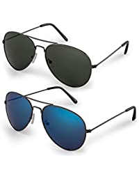 Classic Aviator Sunglasses with Protective Bag, 100% UV...
