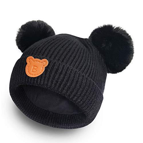 (Happy Tree Baby Winter Warm Knit Hat Cotton Lined Toddler Beanie Cap Kids Pom Pom Hat (6m - 18m), Black)