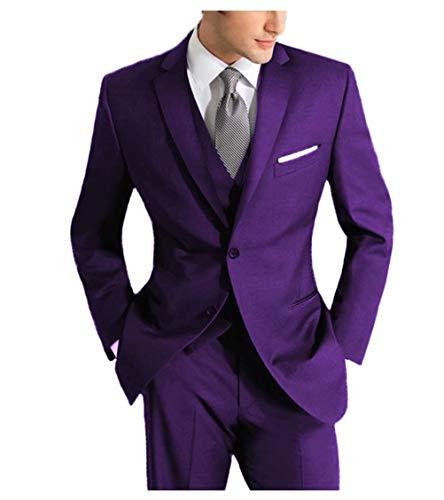 Jingmo 3 Piece Suits for Men Slim Fit Formal Men's Suit Set (Jacket+Vest+Pants) 2 Button by Jingmo