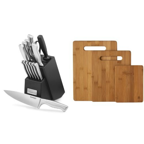 Cuisinart 15-Piece Stainless Steel Hollow Handle Block Set, C77SS-15PK & Totally Bamboo Original 3 Piece Bamboo Cutting & Serving Board Set.
