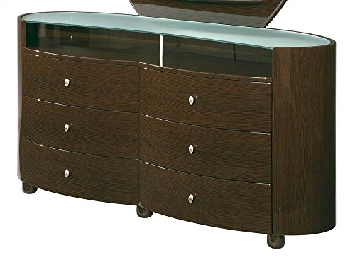 Global Furniture USA Emily 6 Drawer Glass Top Dresser in High Sheen Wenge - Dresser Emily