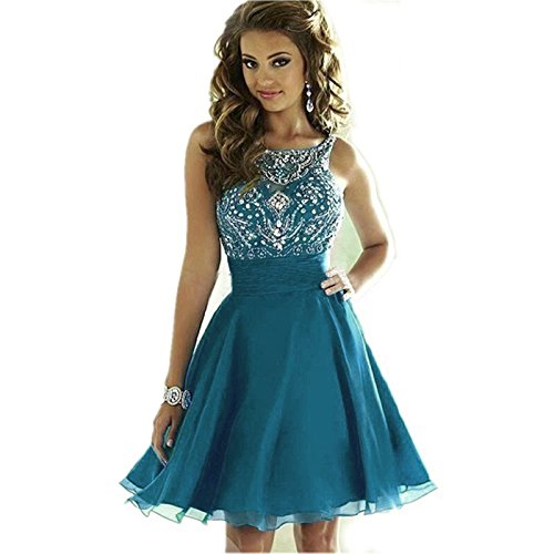 Teal Homecoming Dress (MEILISAY Women's Sparkly Beading Prom Dresses Short Homecoming Dresses 2018 for Juniors Teal,2)