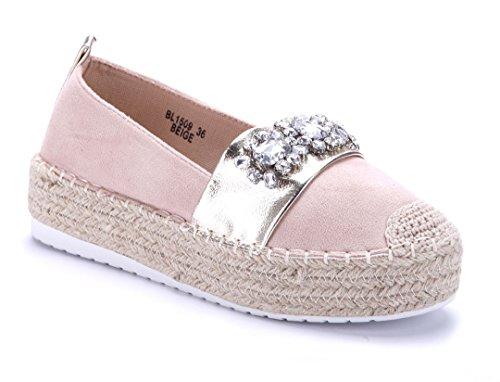Schuhtempel24 Damen Schuhe Halbschuhe Flach Ziersteine Beige