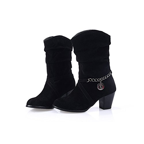 AdeeSu Girls Chunky Heels Metal Ornament Anti-Skidding Bottom Xi Shi Velvet Boots Black xr7V4rQmtA