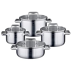 ELO Premium Multilayer Stainless Steel Kitchen Induction Cookware Pots and Pans Set with Multilayer Heating System, Easy-Pour Rim, Integrated Measuring Scale and Glass Lids, 8-Piece