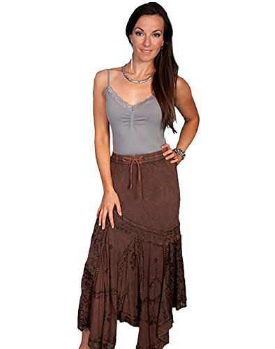 Scully Women's Diagonal Embroidered Long Skirt Rust Copper X-Large