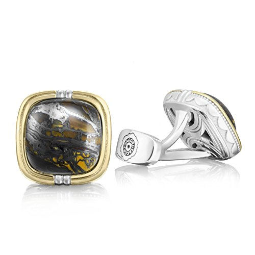 Tacori Mens MCL109Y39 Yellow Gold and Sterling Silver Retro Classic (Gemstone Yellow Cufflinks)