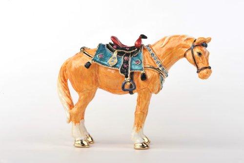 Decorated Swarovski Golden Horse Trinket ()