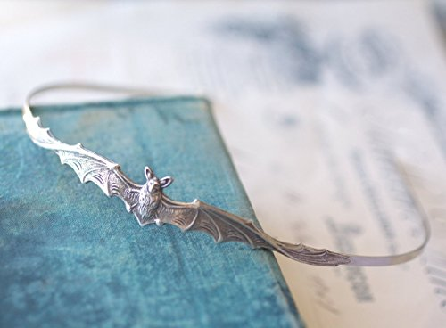 Bat headband gothic hair accessory silver antique Victorian goth vampire by My Lavaliere