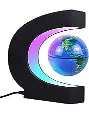 JOWHOL Magnetisch zwevende wereldbol met ledlicht, automatische draaiing, verlicht wereldbol, kinderen, mannen, thuiskantoor, decoratie (blauw)