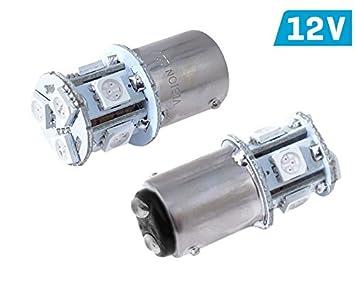 2 x Bombillas LED rojo 12 V pr 21/5 W Bay15D Pera Auto Moto Luz trasera freno Luz: Amazon.es: Electrónica