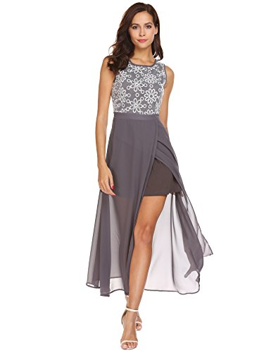 Seewebest Women's Sleeveless Crew Neck Embroidered Split Chiffon Cocktail Dress (Grey,M) (Chiffon Embroidered)