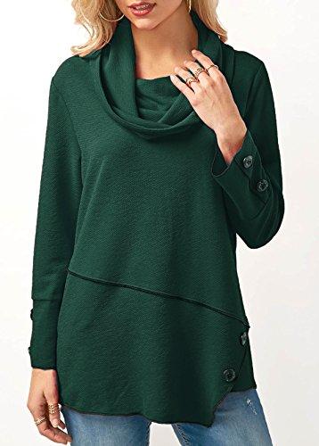 XIU*RONG Botón De Pegado Blusa Camiseta Sudadera Blackish green