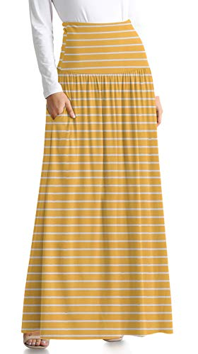 (Womens Long Maxi Skirt with Pockets Reg and Plus Size - Made in The USA (Size X-Large US 10-12, Mustard/Ivory Stripe Ankle-Length))